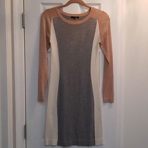 Tart Fitted Beige, Cream & Gray Sweater Dress